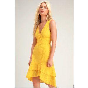 Lulu'sRadiant Ren Yellow Eyelet Ruffled Midi Dress